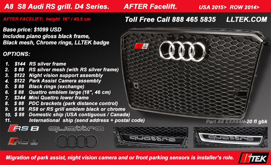 audi a8 s8 rs grille splash
