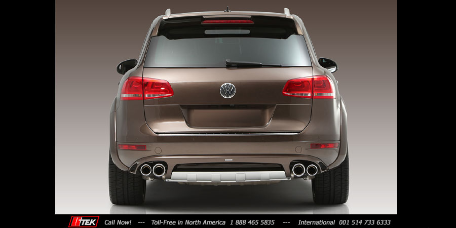 VW Touareg 2011 full rear image of exhaust tips by JE DESIGN